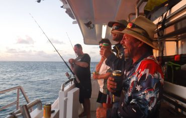 The group enjoying fishing in these remote offshore waters